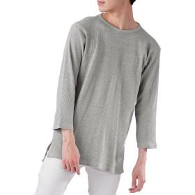 (モノマート) MONO-MART ロング丈 ワッフル カットソー ヘムライン Tシャツ 7分袖 ゆるシルエット MODE メンズ 杢グレー XLサイズ