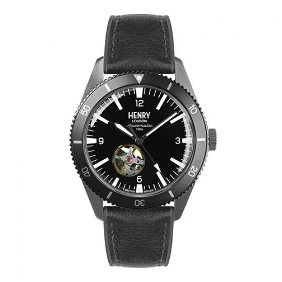 HENRY LONDON 英國設計師品牌手錶 | 英倫淺水風機械錶-黑面x銀色指針x仿皮黑色膠帶