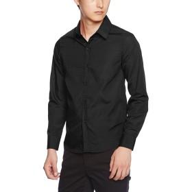 (オチェーンタ)OCHENTAメンズ 夏用 おしゃれ 細身 無地 長袖 カラー ドレス カッター シャツ yシャツ ワイシャツ ブラック M (JP:S)