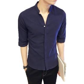 PIITE メンズ パーカー シャツ 半袖 男性用 シャツ 夏 服 シャツ 個性 薄手 ビジネス シャツ 無地 五分丈 シャツネイビーPT9