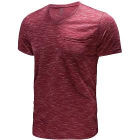【FORBUSITE】Tシャツ メンズ 半袖 夏服 インナーシャツ 小さめ タイト 薄手 カジュアル vネック (L, レッド)
