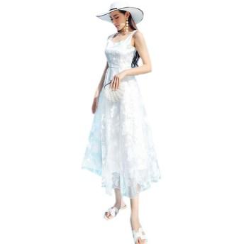 レディースワンピース レース透かし彫り ロング A型 長袖 半袖 スリム パーティードレス ブラック (03-ホワイト, L)