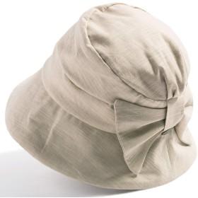 クイーンヘッド UVカット つば広 帽子 サイドリボンQUEENHハット 小顔 ハット レディース 大きいサイズ 紫外線カット 女優帽【BIG61-63cm-ベージュ】