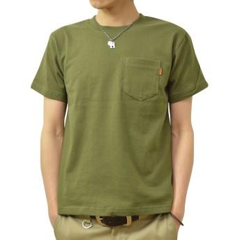 (ジーンズバグ)JEANSBUG 革タブ付 ポケT オリジナル 本革 タブ アクセント 半袖 無地 ポケット Tシャツ メンズ レディース 大きいサイズ PKST-L1 XS シティグリーン(35)