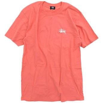 [ステューシー] Tシャツ 半袖 メンズ Basic サイズL ダークピンク/ホワイト [並行輸入品]