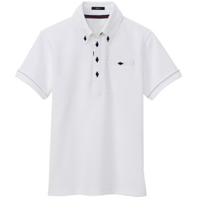 (アイトス)AITOZ 部屋干し対応 ボタンダウン半袖ポロシャツ(男女兼用) #AZ-7667 ホワイト LL