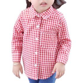 Snoneガールズ キッズ シャツ 長袖 女の子 シャツ ブラウス 格子柄 可愛い シャツ 子供服 女の子 トップス おしゃれ