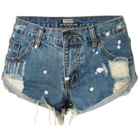 ホットパンツ ショート パンツ セクシー デニムショートパンツ 美脚効果 後ろのポケットがない (靑い, 34 (S)72CM)