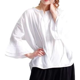 [ゴールドジャパン] 大きいサイズ レディース 裾 タック コットン シャツ ブラウス 七分袖 sw-0174 LL-3L ホワイト