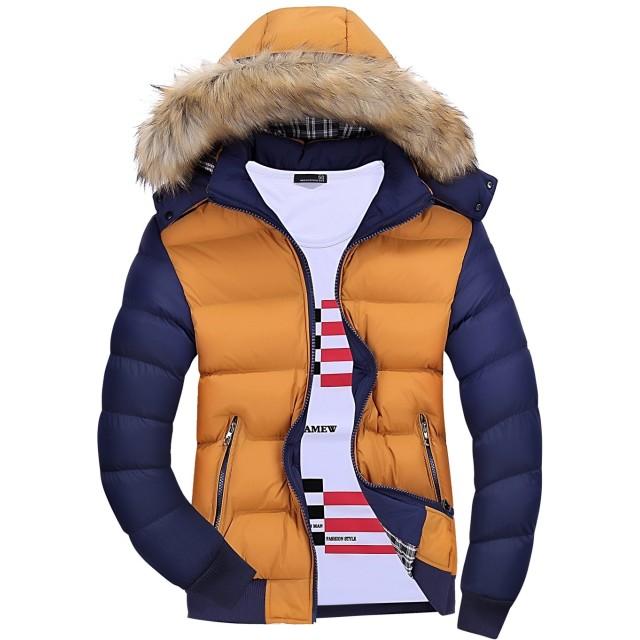 Mr.Streamメンズ防寒軽量 ジャケット防風カジュアル上着秋フード付き保温長袖コート冬 L Yellow Blue