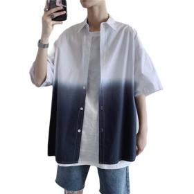 habille(ハビー)メンズ 半袖 Yシャツ グラデーションシャツ カジュアルウェア 夏服 ブルー グラデーション 五分袖 (L/ホワイト)