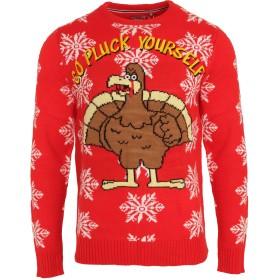 (ブレーブ・ソウル) Brave Soul メンズ Go Pluck Yourself クリスマス セーター ニット (M) (レッド)