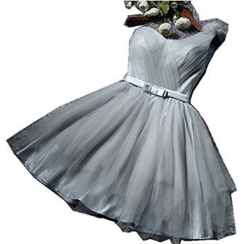 (上海物語)Shanghai Story ワンショルダ Aライン ミニ丈 ハートカットネック ウェディングドレス お姫系 カクテルドレス パーティーワンピース お呼ばれドレス 結婚式ドレ ス 二次会ドレス ワンピ 花嫁ドレス M Silver