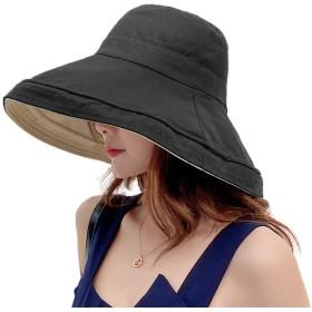 Limakara帽子 レディース uvカット 大きい つば広 コットン 両面使え 折りたたみ 人気 夏 紫外線対策 ハット 取り外しあご紐付き おしゃれ 小顔効果 可愛い 日よけ 吸汗通気 女優帽 母の日 プレゼント(ブラック)
