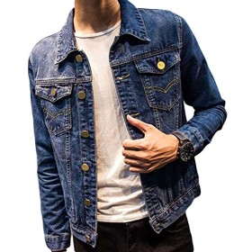 BeiBang(バイバン)メンズ 薄手 デニム ジャケット ショート スリム デニム ジャケット 春 アウター 春服 ブルー ジャンパー ストリート系 お出かけ 大きいサイズ(24ダークブルー)