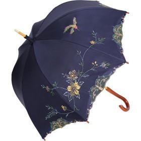 日傘 女優日傘 長日傘 完全遮光 遮熱 UVカット かわず張り 涼しい 晴雨兼用傘 特殊2重張り 花鳥 刺繍 (ネイビー)