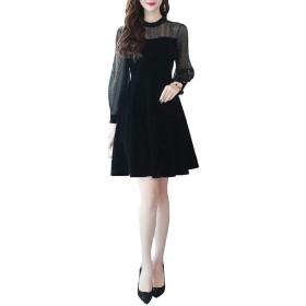 (ロンショップ)R.O.N shop 上品 フェミニン ドレス ワンピース シースルー ドット 柄 フォーマル パーティー 黒 (L)