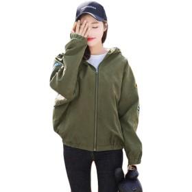 Aisaidunレディース スタジャン ショート コート ゆったり ジャケット ブルゾン シンプル アウター 薄手 刺繍 bf風 野球服 モスグリーンZ