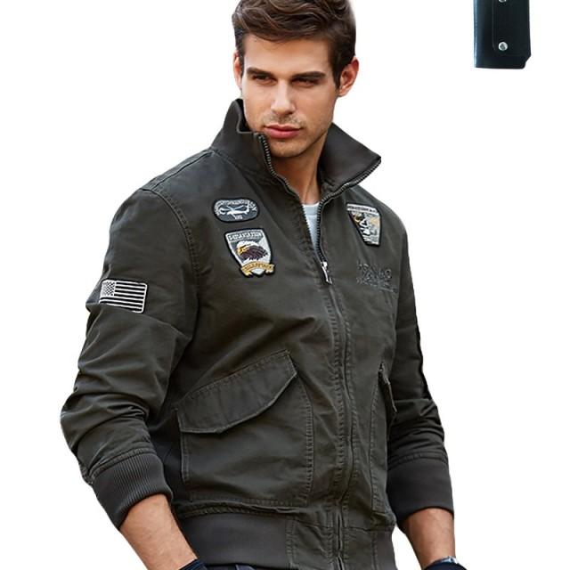 AIKOSHA NETWORK モスグリーン M メンズ ジャケット & キーケース のセット商品 裏起毛 ベルベット ミリタリージャケット スリムなシルエット ファッション 立ち襟 カジュアル ジャケット 男性コート