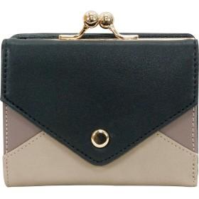 [プレックス]PREX 3 配色 がまぐち 折財布 ZG-45612 ブラック