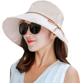 Elonglin 日よけ帽子 uvカット帽子 ネックカバー レディース つば広 帽子 小顔効果 リボン 手軽く収納 日焼け 紫外線対策 サイズ調節 アウトドア 旅行 女優帽 魅力溢れる 春夏物