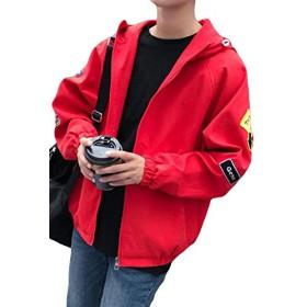 DeBangNi メンズ ジャケット 秋 薄手 ブルゾン フード付き 無地 MA-1ジャケット ゆったり 原宿風 スタジャン スポーツ風 韓国風 カジュアル アウター 大きいサイズレッドN1