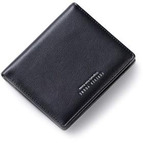財布 レディース 二つ折り財布 コンパクト (ブラック) [並行輸入品]