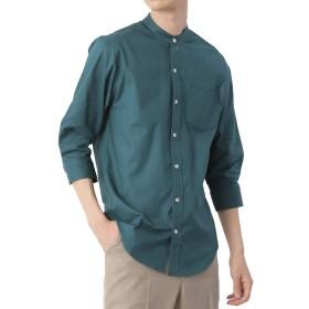 (モノマート) MONO-MART 7分袖 プレミアム 綿麻 リネン シャツ リネンシャツ ストレッチ メンズ (バンドカラー) ダークグリーン Lサイズ