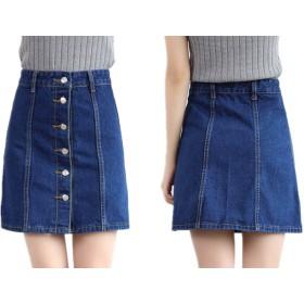 (ジョーヌドレ) Jaune Dore デニム ショートパンツ レディース Aライン 美脚 体形カバー 選べて嬉しい 2カラー 4サイズ ミニスカート ではありません 大きいサイズ ハイウェスト (ネイビー(深紺)M)