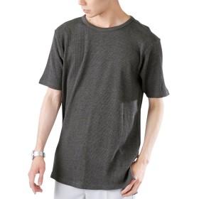 (モノマート) MONO-MART ロング丈 ワッフル Tシャツ カットソー ヘムライン ゆるシルエット MODE メンズ クルーネック 杢チャコール Mサイズ