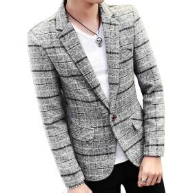 (ニカ)メンズ スーツ ラシャジャケット ショートジャケット 秋 スーツ オシャレ カジュアル 薄手 メンズ ラシャコット 秋 冬 春 ビジネス ジャケットグレーT2