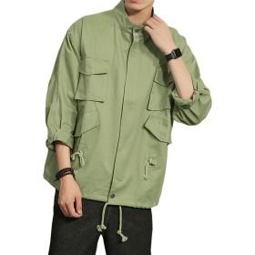 YFFUSHI ジャケット メンズ 七分袖 M-5L 2色 個性 ゆったり カジュアル 春 夏 秋 合わせやすい フライトジャケット