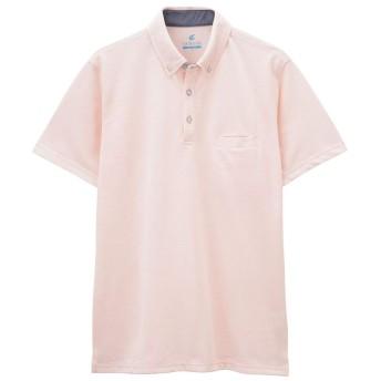 ポロシャツ メンズ 半袖 ボタンダウン ポケット 黒 ネイビー グレー ピンク 抗菌 防臭 無地 夏 汗のにおい 軽減 MH/03627SS メンズ ピンク:L