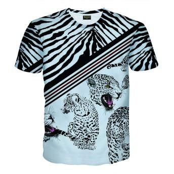 Pizoff(ピゾフ) メンズ 半袖 Tシャツ 豹柄 カッコいい プリント おしゃれ 派手 ストリート カットソー B系 夏服AC145-25-XL