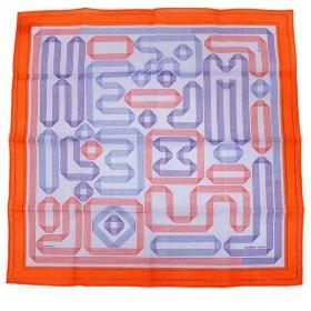 エルメス コットン100% ハンカチ Mouchoir Imprime Ruban D Hermes H172008G 02 オレンジ系 箱付(新品・未使用品)