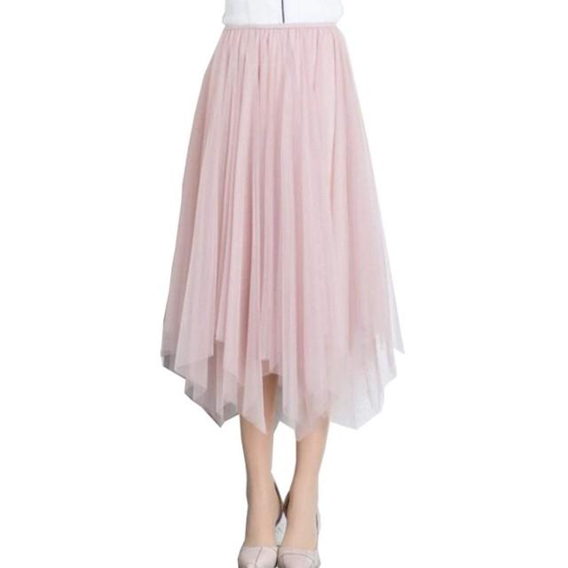 Qianqian レディース ふんわり 可愛い プリーツ チュール スカート ロングスカート ウエストゴム プリーツスカート ケーキスカート マキシスカート 海水浴 フリーサイズ 5色 (ピンク01)