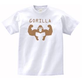 【ノーブランド品】 おもしろ デザイン GORILLA ゴリラ Tシャツ 白 MLサイズ (L)