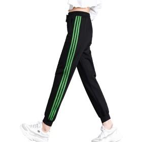 Jomiss カジュアル パンツ サイドライン ジャージ 下 スポーツ レディース3ライン ズボン ジャージ (グレーン, XL)