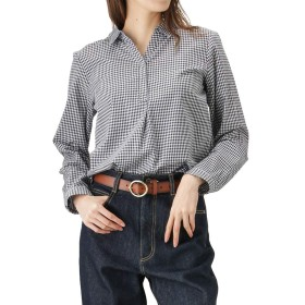 Navy(ネイビー) レーヨン混 キーネックシャツ ブラウス キーネック プルオーバー NJPH7100L レディース ブラック:M