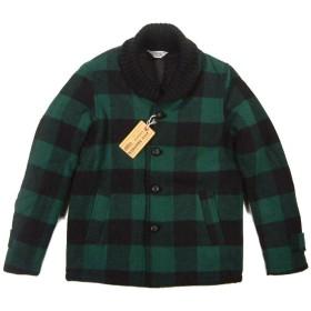 (ファイブブラザー) FIVE BROTHER バッファローチェック & 無地 ショールカラー ウールジャケット M グリーン×ブラック