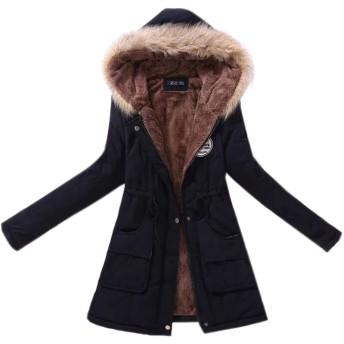 Elonglin レディース 中綿コート フード付き モッズコート アウター コート ジャケット ロングコート 裏ボア コート 裏地起毛 スウェット カジュアル ミリタリー エレガント 防寒 冬服 暖かい 大きいサイズ 黒 ブラック S-4L