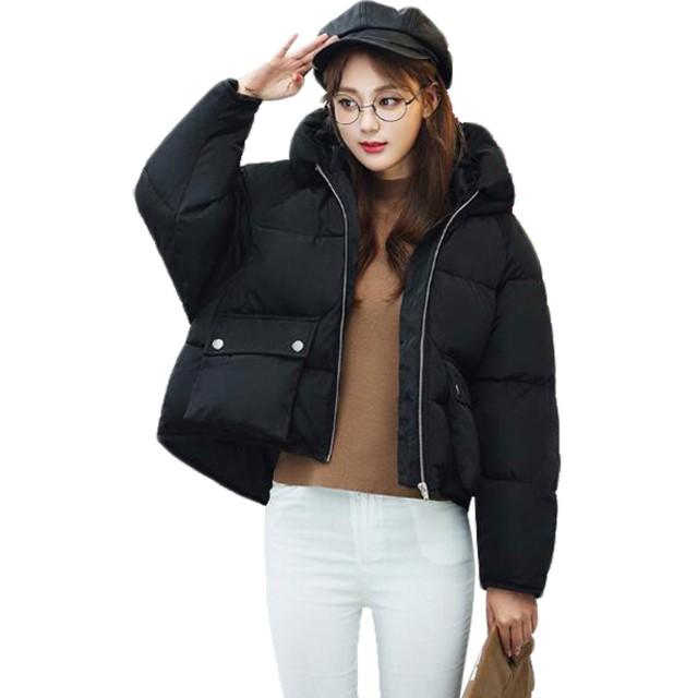 GuDeKe ダウンジャケット レディース ダウンコート 秋冬 ショート丈 ゆったり BF風 ライトダウン 暖かい 中綿ジャケット 修身 シンプル 可愛い 着痩せ ファッション 軽量 6色 ブラックL