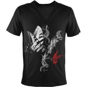 Tシャツ Vネック 蝶 バタフライ 煙 スモーク プリント 半袖Tシャツ メンズ ブラック黒 zkk048 L