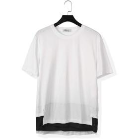 Tシャツ メンズ 半袖 カットソー 無地 丸首 ゆったり おしゃれ 薄手 涼しい カジュアル オールシーズン おおきいサイズ ロング丈 ポリエステル(ホワイト)