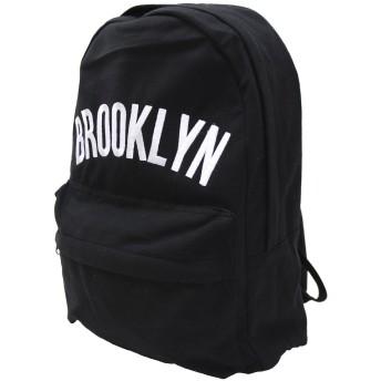 (ブルックリン)BROOKLYN ロゴ柄リュック(デイバッグ リュックサック) ブラック