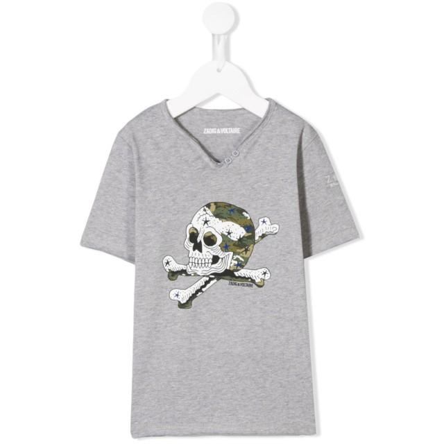 Zadig & Voltaire Kids スカルプリント Tシャツ - グレー
