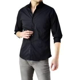 (フラグオンクルー) FLAG ON CREW 7分袖シャツ メンズ モノトーン ストレッチシャツ スマート / A7V / L ブラック・black