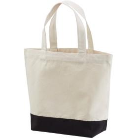 選べる2サイズ トートバッグ キャンバス バッグ レディース メンズ ユニセックス エコバッグ ショッピングバッグ (S, ナチュラル/ブラック)