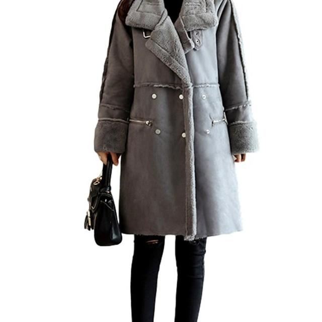 Veamor 人気 フェイク コート アウター レディース ジャケット 裏起毛 裏ボアコート ムートンコート風 セーム革コート 暖かい ファッション