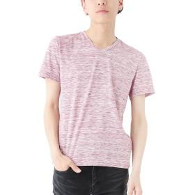 レッド杢半袖 M (ベストマート)BestMart 引き揃え 杢 Vネック カットソー Tシャツ メンズ トップス カジュアル 622973-005-891